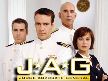 Members of the cast of JAG, from left: Patrick Labyorteaux, David James Elliott, John M. Jackson and Catherine Bell. Photo: Tony Esparza/CBS
